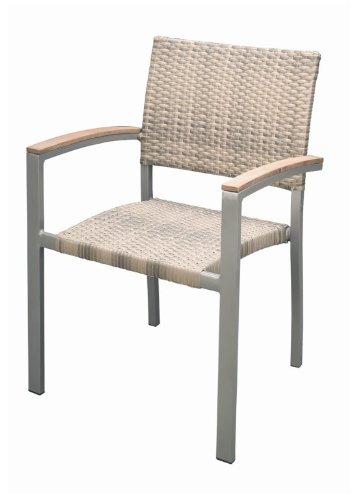 Premium Rattan Garten Sessel mit Teak Armlehnen