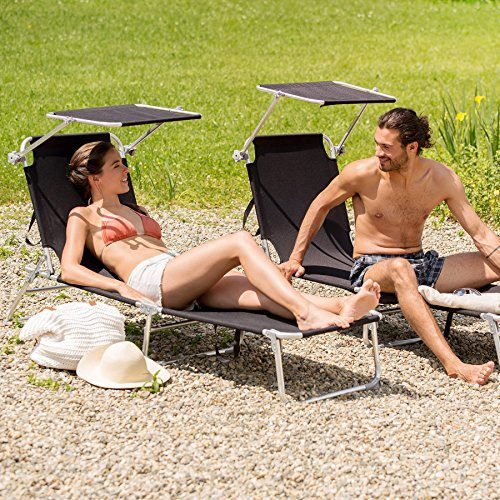 TecTake TecTake Aluminium Gartenliege klappbar mit Sonnendach 190cm - diverse Farben - (Schwarz | Nr. 401427)