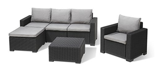 Allibert Lounge Set Garten, Moorea Set, graphit/panama cool graues Rattanoptik Set, 199 x 68 x 72 cm, Balkonmöbel