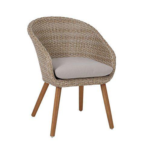 greemotion Rattansessel Comfort – Loungesessel aus Rattan - Rattanstuhl beige-braun - Gartensessel aus Polyrattan & Holz - Korbsessel mit Auflage – Gartenstuhl für Balkon & Terrasse - Garten-Sessel