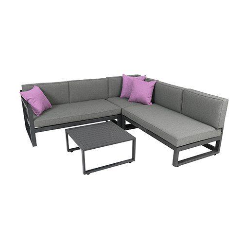 greemotion Gartenmöbel-Set Alu Costa Rica - Gartenlounge aus Aluminium mit Auflagen in Grau & 3 Deko-Kissen - Loungeset inkl. 2 x 2-Sitzer, Ecksessel mit Liege-Funktion & Tisch für Outdoor & Indoor