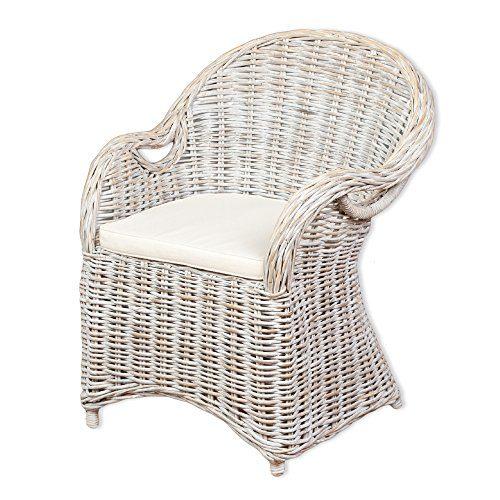 Rattan-Sessel CHARLOTTE White-Washed inkl. Sitzkissen Garten Stuhl Gartenmöbel