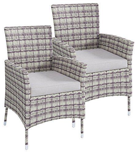 VCM Polyrattan Stuhl Stühle Rattan Gartenstühle Sessel Gartensessel Grau 2x Stühle