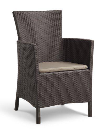 Allibert Dining Sessel Iowa, bequeme und robuste Kunststoffstühle Garten, 62 x 60 x 89 cm, braun