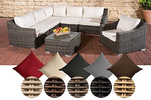 CLP Gartengarnitur DEL MAR | Sitzgruppe mit 6 Sitzplätzen | Gartenmöbel-Set aus Polyrattan | In verschiedenen Farben erhältlich Rattan Farbe grau-meliert, Bezugfarbe: Cremeweiß
