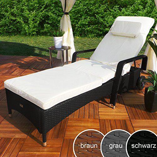 Rattan Garten Liege Relax Polyrattan Gartenliege Rattanmöbel Liegestuhl Sonnenliege (Schwarz)