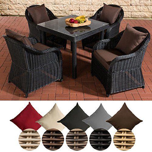 CLP Gartengarnitur SAN JUAN XL | Sitzgruppe mit 4 Sitzplätzen | Gartenmöbel-Set aus Polyrattan | Komplett-Set mit 4 Sesseln und einem Esstisch | In verschiedenen Farben erhältlich Rattanfarbe: Schwarz, Kissenfarbe: Terrabraun