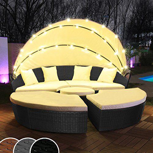 Polyrattan Sonneninsel mit LED Beleuchtung + Solarmodul inklusive Abdeckcover Rattan Lounge Sunbed Liege Insel mit Regencover Sonnenliege Gartenliege (210cm, Schwarz)