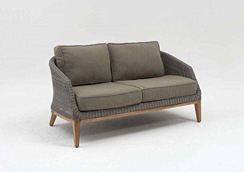 "2er Sofa ""San Diego"" Rattan Teakholz Polster Doppelsofa Lounge Gartenbank Wohnzimmersofa Loungesofa Gartensofa Terassensofa"