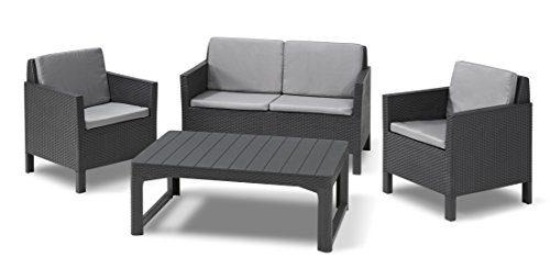 Allibert Lounge Set Garten, Chicago Sessel-Sofa Set mit Rückenkissen und Lyon Tisch, graphit/cool grau, 129 x 65 x 75 cm, Lounge Set in Rattanoptik