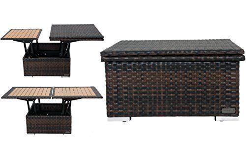 Outflexx Loungetisch höhenverstellbar, Polyrattan, braun-marmoriert, 152 x 75 x 40 cm