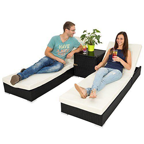 TecTake 2x Aluminium Polyrattan Sonnenliege + Tisch Gartenmöbel Set - inkl. 2 Bezugsets + Schutzhülle, Edelstahlschrauben - diverse Farben - (Schwarz (Nr. 401500))