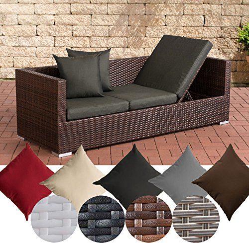 CLP flexibles Poly-Rattan 3er Lounge-Sofa SOLANO, ALU-Gestell, 4 Rattanfarben + 5 Kissenfarben, inkl. Auflagen Rattanfarbe: Braun-meliert, Kissenfarbe: Anthrazit