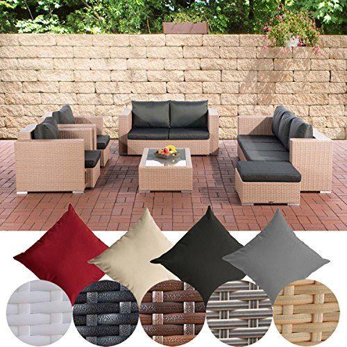 CLP Gartengarnitur PROVENCE | Sitzgruppe mit 7 Sitzplätzen | Gartenmöbel-Set aus Polyrattan | In verschiedenen Farben erhältlich Sand, Bezugsfarbe: Anthrazit