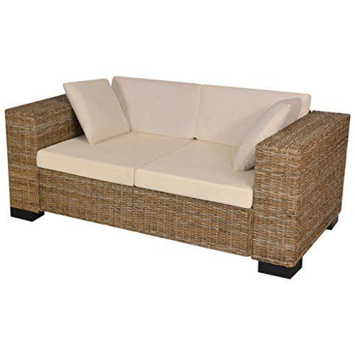 Festnight 7-tlg. 2-Sitzer Sofa Set aus Echtes Rattan Rattansofa Loungesofa mit 2 Sofakissen Sitzkomfort 162x80x61cm für Wohnbereich