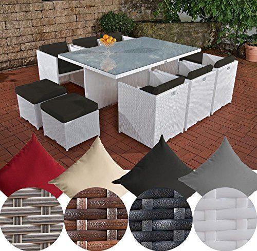 CLP XXL Polyrattan-Sitzgruppe MAUI | Gartengarnitur bestehend aus 6 Sesseln, 4 Hockern und einem Esstisch | Sitzgruppe für 10 Personen | In verschiedenen Farben erhältlich Rattan: weiß | Bezüge: Anthrazit
