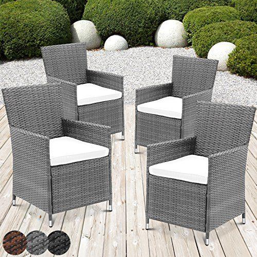 Rattansessel mit Armlehne Stuhl Sessel Garten Stuhl Rattan Outdoor im Set 4 Stück mit Sitzkissen in verschiedenen Farben (Grau)