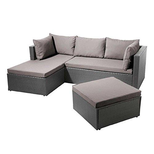 Balkonlounge Polyrattan OUTLIV. Basel - Sonderedition - Günstiges Lounge-Set 3tlg. Ecklounge Grau Loungemöbel Garten Outdoor