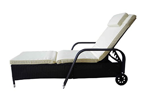MK-Outdoor Rattan Rattanliege Lounger DELUXE-S, belastbar bis 165 kg, inklusive bequemer waschbarer Auflage und Kopfkissen, bestens für den Outdoor Einsatz geeignet, mehrfach verstellbare Rückenlehne (ganz flach), schwarz, Gartenliege, Relaxliege, Liegestuhl, Sonnenliege Rattanmöbel