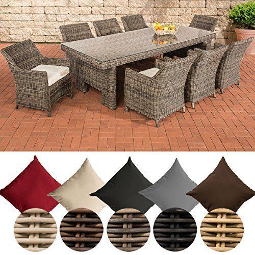 CLP Polyrattan-Sitzgruppe SANDNES inklusive Polsterauflagen | Garten-Set bestehend aus einem großen Esstisch mit einer pflegeleichten Tischplatte aus Glas und acht Sesseln | In verschiedenen Farben erhältlich Rattan Farbe grau-meliert, Bezugfarbe: Cremeweiß