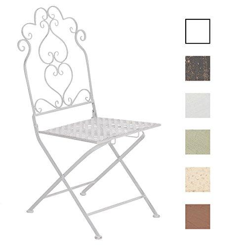 CLP Eisen-Klappstuhl ANABEL im nostalgischen Design | Klappbarer Gartenstuhl mit edlen Verzierungen | In verschiedenen Farben erhältlich Antik Weiß