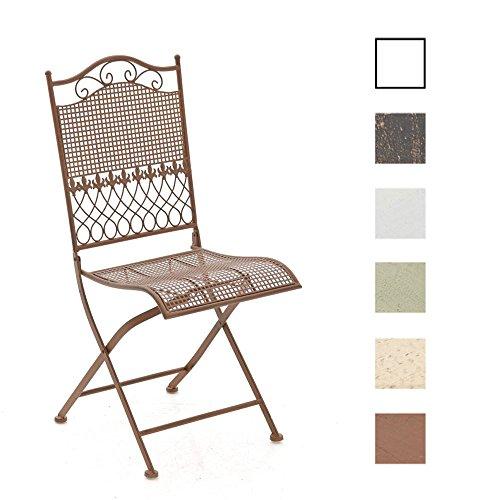 CLP Eisen-Klappstuhl KIRAN im nostalgischen Design | Klappbarer Gartenstuhl mit edlen Verzierungen | In verschiedenen Farben erhältlich Antik Braun