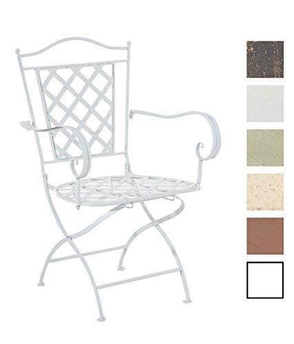 CLP Eisenstuhl ADARA im Jugendstil | Metallstuhl mit Armlehnen | Antiker handgefertigter Gartenstuhl aus Metall | In verschiedenen Farben erhältlich Weiß