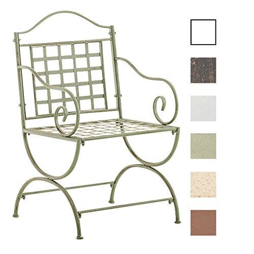 CLP Eisenstuhl LOTTA im Jugendstil | Metallstuhl mit Armlehnen | Antiker handgefertigter Gartenstuhl aus Metall | In verschiedenen Farben erhältlich Antik Grün