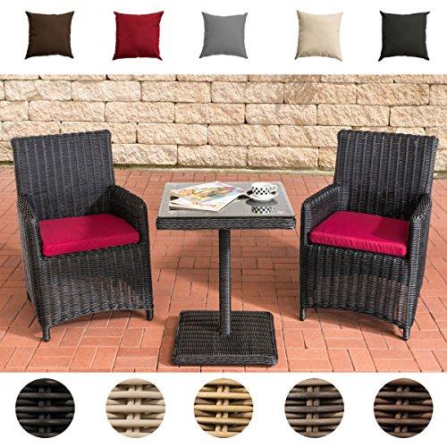 CLP Garten-Sitzgruppe PALERMO aus Polyrattan | Robuste Gartengarnitur mit Aluminiumgestell | Garten-Set bestehend aus 2 Stühlen und einem Tisch | In verschiedenen Farben erhältlich Rattanfarbe: Schwarz, Bezugfarbe: Rubinrot