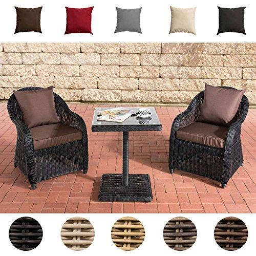 CLP Gartengarnitur TERMINI | Sitzgruppe mit 2 Sitzplätzen | Gartenmöbel-Set aus Polyrattan | Komplett-Set mit 2 Gartenstühlen und einem Tisch | In verschiedenen Farben erhältlich Rattanfarbe: Schwarz, Bezugfarbe: Terrabraun