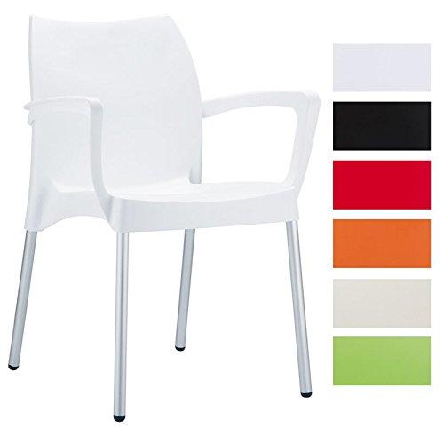 CLP Gartenstuhl DOLCE mit Metallgestell und Kunststoffsitz | Wetterbeständiger Stapelstuhl bis zu 160 kg belastbar | In verschiedenen Farben erhältlich Weiß