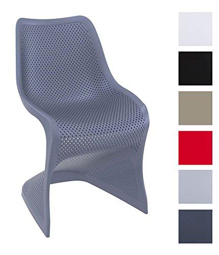 CLP Outdoor-Stuhl BLOOM XXL aus Kunststoff | Pflegeleichter Freischwinger für den Garten | In verschiedenen Farben erhältlich Dunkelgrau