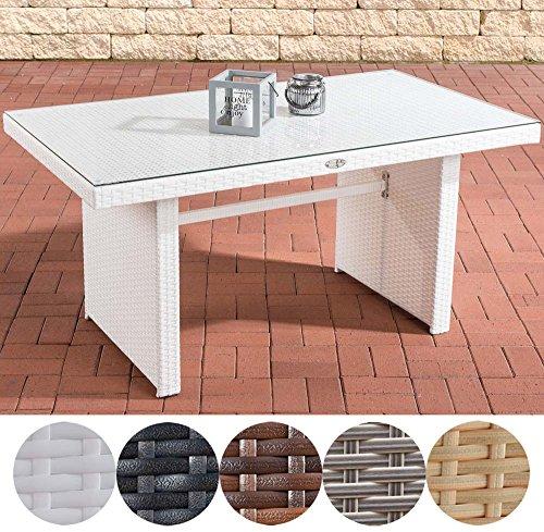 CLP Polyrattan-Gartentisch FISOLO mit einer Tischplatte aus Glas | Wetterbeständiger pflegeleichter Tisch | In verschiedenen Farben erhältlich Weiß