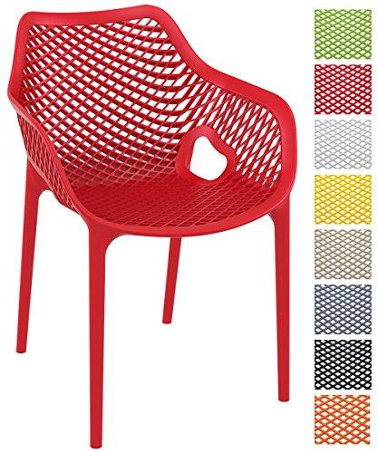 CLP XL-Bistrostuhl AIR aus Kunststoff | Stapelstuhl AIR mit einer Sitzhöhe von 44 cm | Pflegeleichter Outdoor-Stuhl mit Wabenmuster | In verschiedenen Farben erhältlich Rot