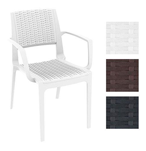CLP XXL Polyrattan-Gartenstuhl CAPRI mit Armlehnen | Wetterfester Outdoor-Stuhl aus Kunststoff | In verschiedenen Farben erhältlich Weiß