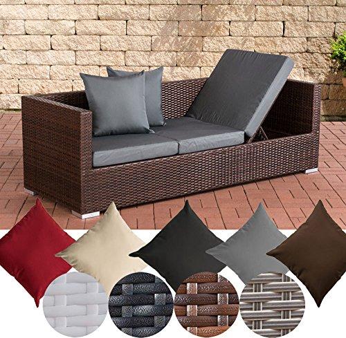 CLP flexibles Poly-Rattan 3er Lounge-Sofa SOLANO, ALU-Gestell, 4 Rattanfarben + 5 Kissenfarben, inkl. Auflagen Rattanfarbe: Braun-meliert, Kissenfarbe: Eisengrau