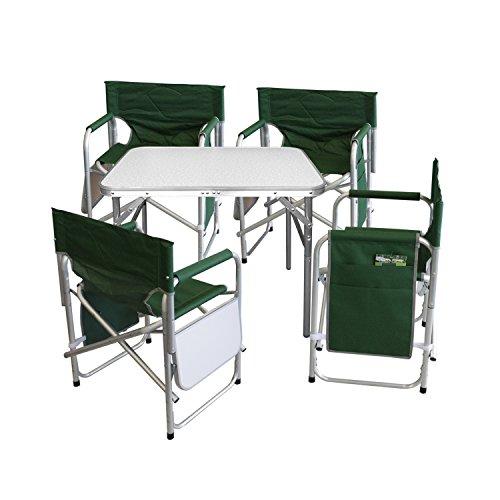 Multistore 2002 5tlg. Campingmöbel Set Gartengarnitur Campingtisch Alu Klapptisch 75x55x60cm + 4x Alu Campingstühle Klappstuhl Anglerstuhl mit Ablage und Organizer Grün