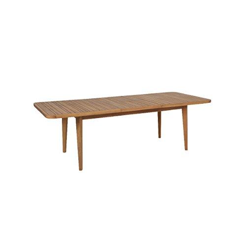 greemotion 128670 Ausziehtisch FÖHR aus Massivholz-Gartentisch rechteckig zum Ausziehen-Esstisch Garten, Terrasse & Balkon-Holz Tisch Akazie massiv, Braun, 18,6 x 10,3 x 1,7 cm