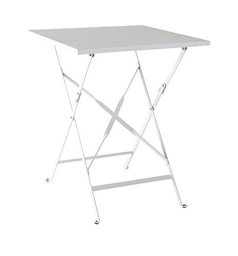 greemotion Klapptisch Mykonos weiß, Balkontisch aus kunststoffummanteltem Stahl, Beistelltisch ideal für 2 Personen, witterungsbeständig und pflegeleicht, Maße: ca. 60 x 60 x 72 cm