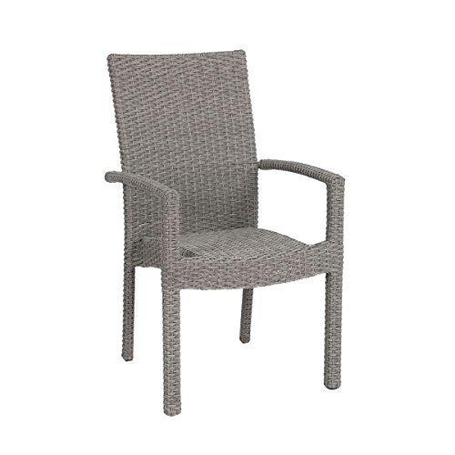 greemotion Stapelsessel Malmö grau, inklusive Auflage, Sitzmöglichkeit für In- und Outdoor, platzsparender Terassenstuhl, Stuhl aus pflegeleichtem Polyrattan, hochwertiges Aluminiumgestell, witterungsbeständig