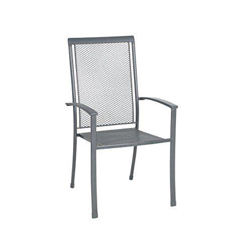 greemotion Stapelstuhl Toulouse Premium eisengrau, Stuhl mit kunststoffummanteltem Stahl, platzsparend stapelbarer Gartenstuhl, wetterfest und pflegeleicht