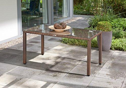 greemotion Tisch Milano braun bicolor, Polyrattan-Tisch mit Glastischplatte, Terrassentisch mit Alu-Gestell Gartentisch aus Polyethylen, langlebig, Maße ca. 140 x 80 x 74 cm