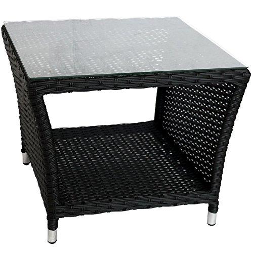 Wohaga Eleganter Polyrattan Beistelltisch mit Tischglasplatte und Ablagefläche, 50x50cm - Schwarz - Gartentisch Teetisch Gartenmöbel Rattanmöbel