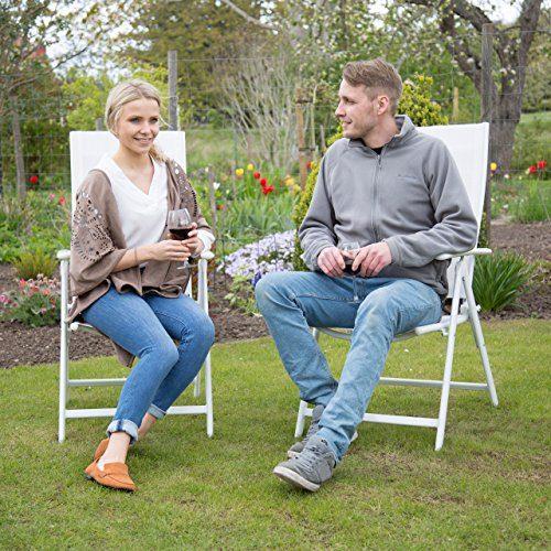 Relaxdays Gartenstuhl Alu klappbar Hochlehner, Armlehne Verstellbar, HxBxT: 100 x 56 x 100 cm, Balkon Camping Festival, weiß