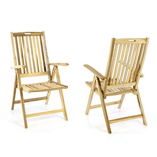 Divero 2er Set Stuhl Gartenstuhl Terrassenstuhl Klappstuhl aus Teak-Holz Hochlehner mit Armlehnen Verstellbare Rückenlehne klappbar Massiv unbehandelt Natur