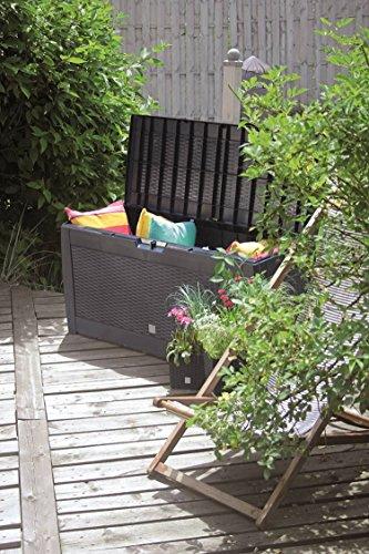 XXL Garten-Box mit Rollen, 310 Liter Volumen, abschließbar, viel Platz für Auflagen oder Kissen. Rattan-Design Auflagenbox abwaschbar und einfach im Aufbau