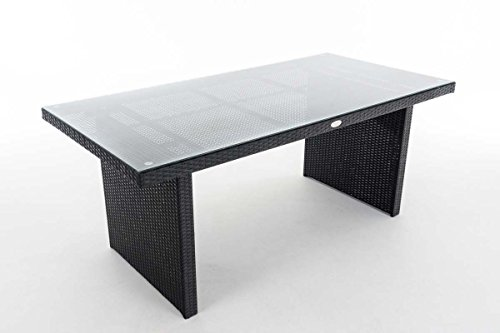 CLP Poly-Rattan Garten-Tisch AVIGNON, Größe: 180 x 90 cm, Höhe: 75 cm, bis zu 5 Rattan-Farben wählbar Schwarz