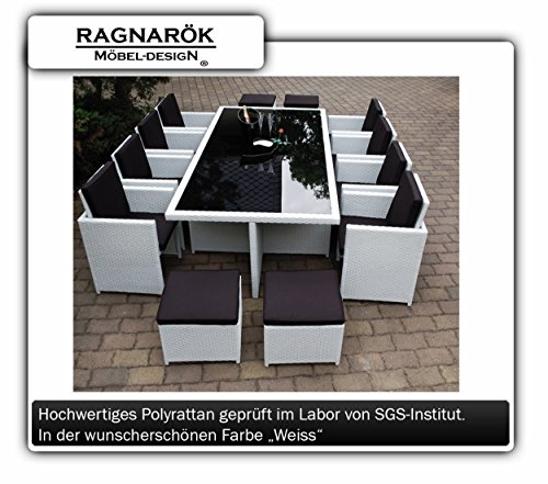 Ragnarök-Möbeldesign PolyRattan Essgruppe DEUTSCHE MARKE - EIGNENE PRODUKTION Tisch + 8x Stuhl & 4x Hocker 7 Jahre GARANTIE Garten Möbel incl. Glas und Sitzkissen (weiß) Gartenmöbel