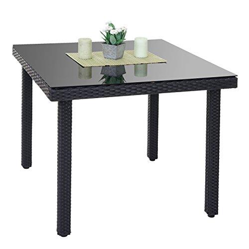 Mendler Poly-Rattan Gartentisch Cava, Esstisch Tisch mit Glasplatte, 90x90x74cm ~ anthrazit