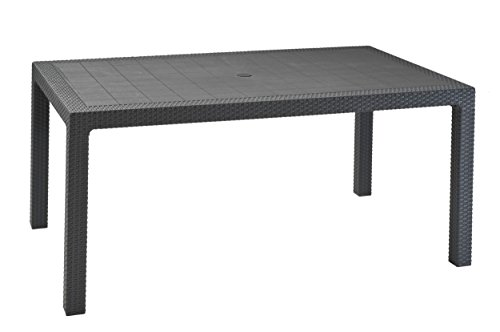 Keter 17190205 Tisch Melody Table, rechteckig, Rattanoptik, Kunststoffoberfläche, Kunststoff, anthrazit